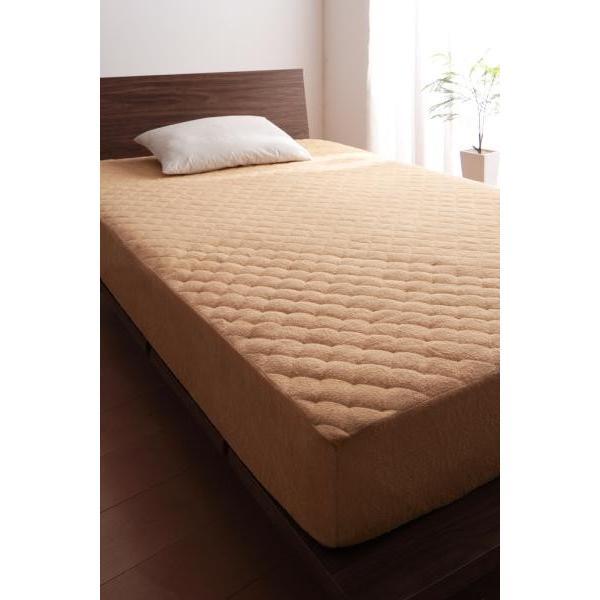 タオル地 敷きパッド一体型ボックスシーツ の同色2枚セット キング 色-ナチュラルベージュ /綿100%パイル