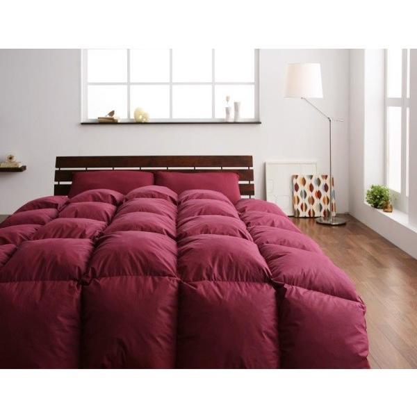 羽毛布団セット(ニューゴールドラベル) ベッド用10点 ダブル 色-ワインレッド