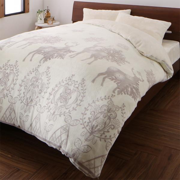 ノルディック柄 布団カバーセット ベッド用3点(枕カバー + 掛け布団カバー + + + ボックスシーツ) シングル 色-ホワイトノエル /暖かい 洗える 10f