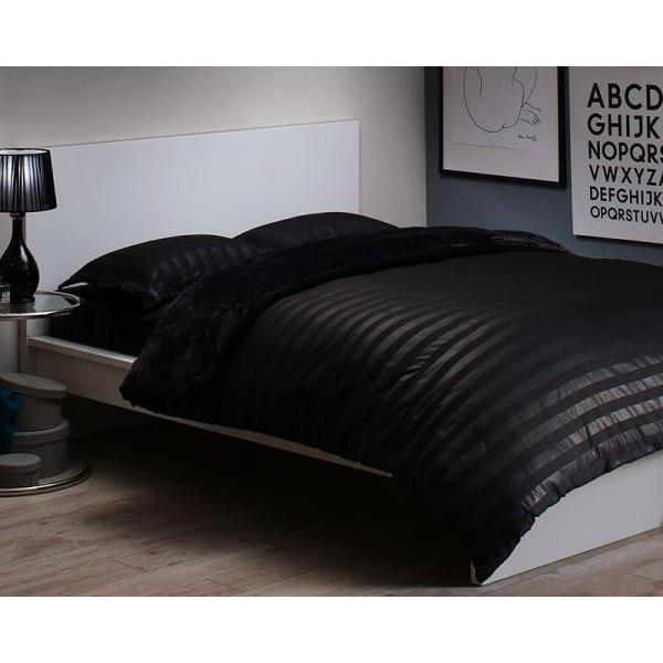 冬の高級ホテル柄 布団カバーセット ベッド用4点(枕カバー2枚 + 掛け布団カバー + ボックスシーツ) キング 色-ジェットブラック /暖かい 洗える