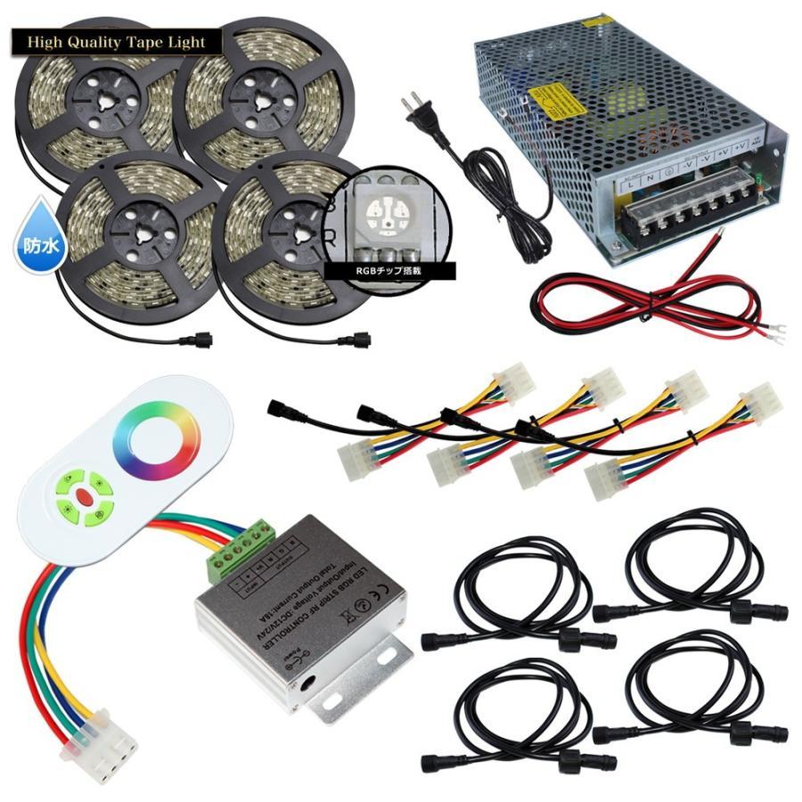 【スマコン50cm×4本セット】 防水RGBテープライト+RF調光器+対応アダプター付き