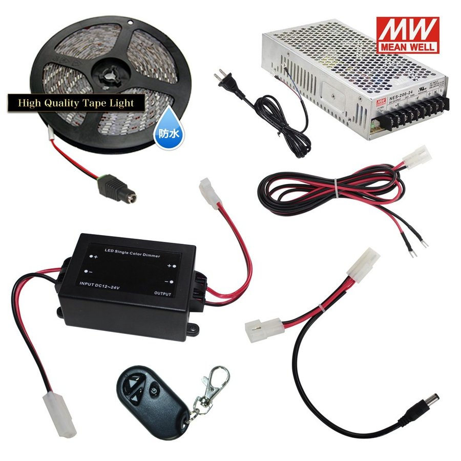 【らくらく350cm×1本セット】 【らくらく350cm×1本セット】 防水1チップ LEDテープライト+調光器+対応アダプター付き