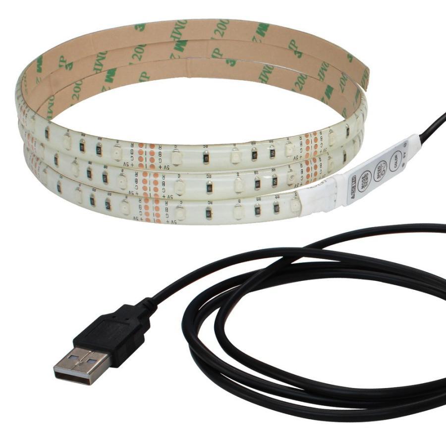 Kaito6963(50本) 防水 USB 流れるLEDテープライト RGB/カラフル(3528) [ミニ調光付き] 150cm DC5V 白ベース