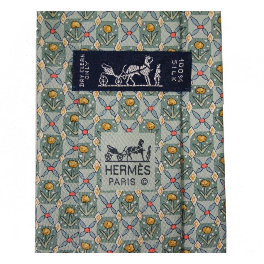 【中古】エルメス ネクタイ 7757 FA HERMES メンズ プリント 花柄 シルク100% グリーン系 YJH2482-2|kaitsukedoh|06
