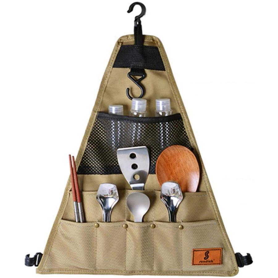 CosHall クッキングツール カトラリー収納袋 食器収納バッグ 吊り下げ ツールロールポーチ 収納ポケット 工具袋 布巻き 折りたたみ 持ち運び便|kakastore