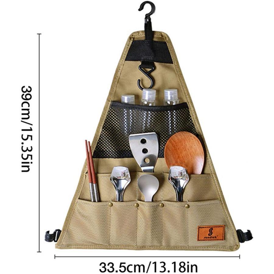 CosHall クッキングツール カトラリー収納袋 食器収納バッグ 吊り下げ ツールロールポーチ 収納ポケット 工具袋 布巻き 折りたたみ 持ち運び便|kakastore|04