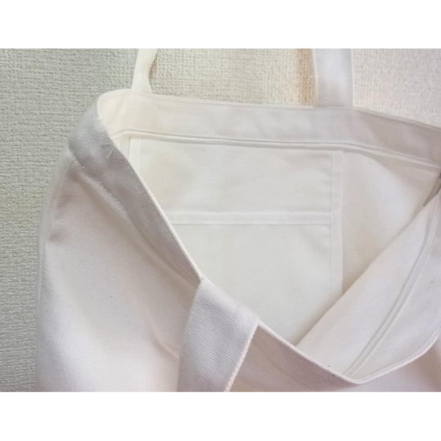 peco キャンバス 無地 シンプル トートバッグ (白ファスナーポケット付)|kakastore|04