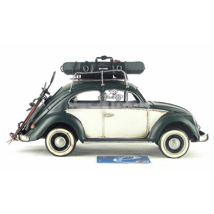 ビートル トラベルカー インテリアオブジェ アンティーク 置物 ブリキ製 クラシックカー バス レトロ (全て手作り)