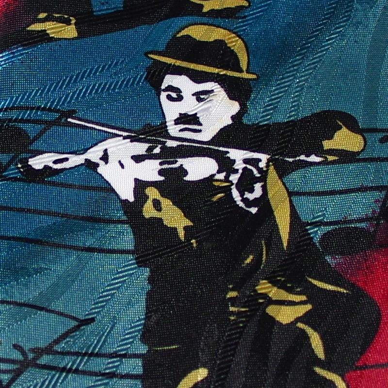 Charlie Chaplin / チャールズ・チャップリン - Vintage Charlie Chaplin Comedy Great / マルチカラー 90年代UK製 古着 ヴィンテージ・ネクタイ kaltz 06