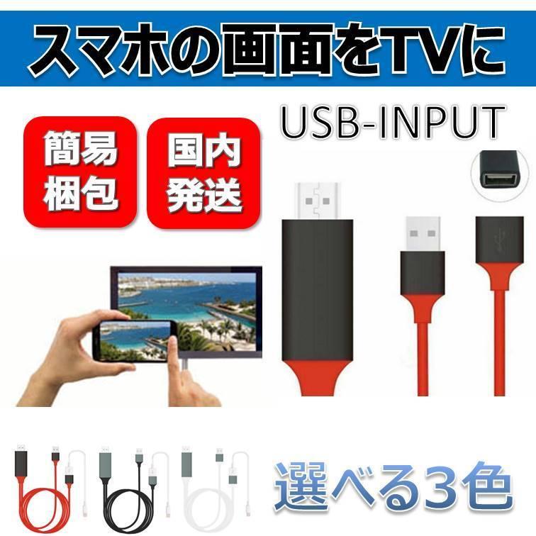 スマホ TVに映す 3色 テレビに映す 変換ケーブル USB-INPUT iPhone テレビ HDMI ケーブル アダプタ 変換 定番キャンバス 捧呈 android