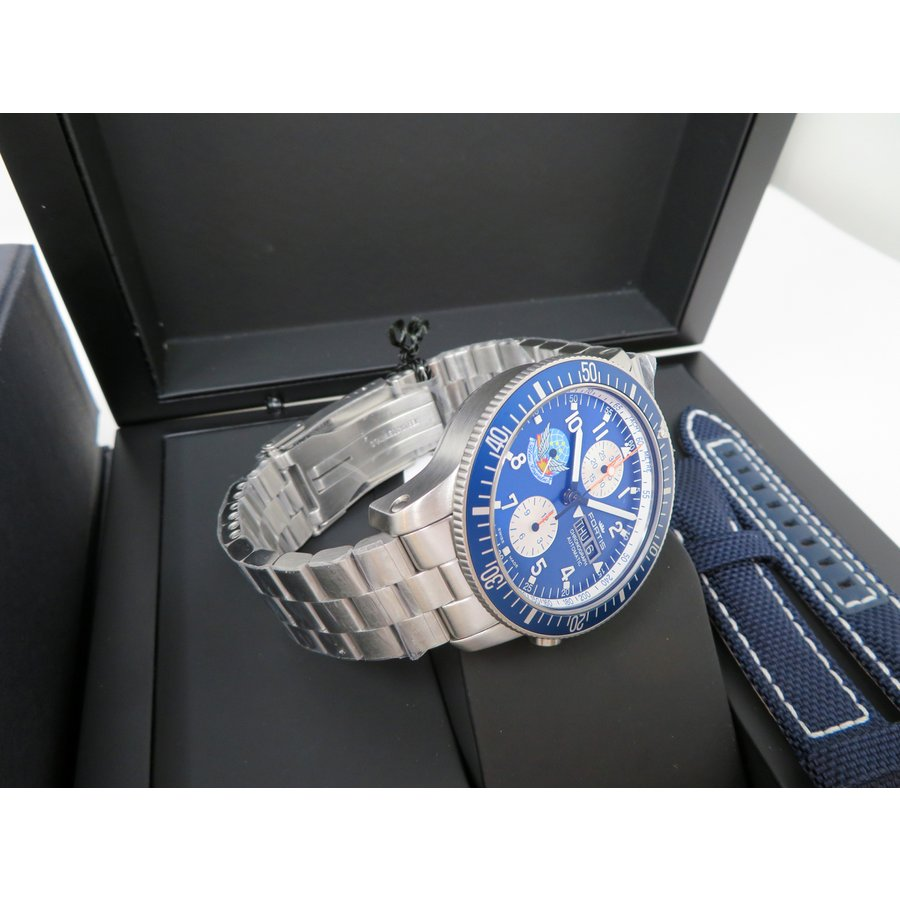フォルティス オフィシャル・コスモノート・クロノグラフ 638ブルーインパルス Ref.638.10.11M.BI 航空ファン監修のブルーインパルスカレンダー付|kamashima|08