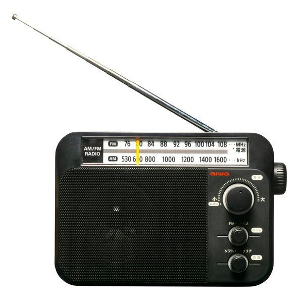 ラジオ 小型ホームラジオ aiwa AM/FM ワイドFM対応 乾電池式 AC電源 兼用 ブラック|kanaemina