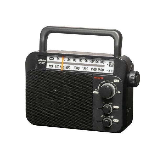 ラジオ 小型ホームラジオ aiwa AM/FM ワイドFM対応 乾電池式 AC電源 兼用 ブラック|kanaemina|03