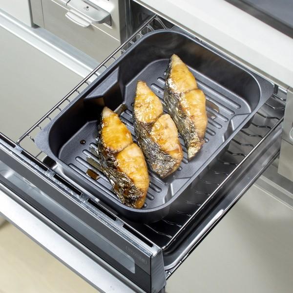 グリル名人 魚焼きグリルパン 浅型・深型スタッキンググリルプレート 波型プレートセット オーブン ガス火 IH対応|kanaemina|03