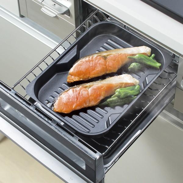 グリル名人 魚焼きグリルパン 浅型・深型スタッキンググリルプレート 波型プレートセット オーブン ガス火 IH対応|kanaemina|08