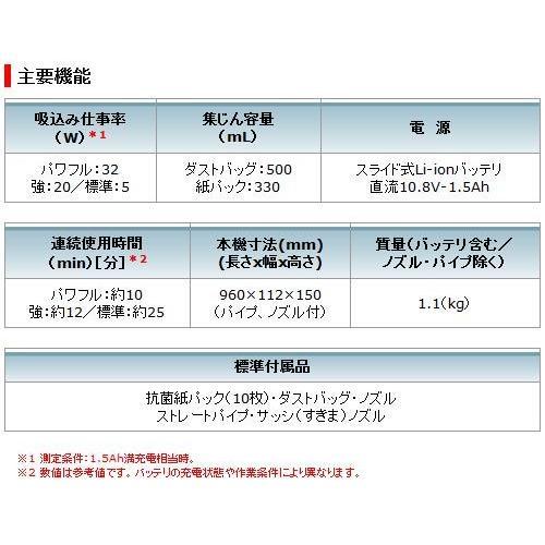 マキタ 10.8V 充電式クリーナ CL107FDSHW(1.5Ahバッテリ・充電器セット)[紙パック式] kanamono-store 04