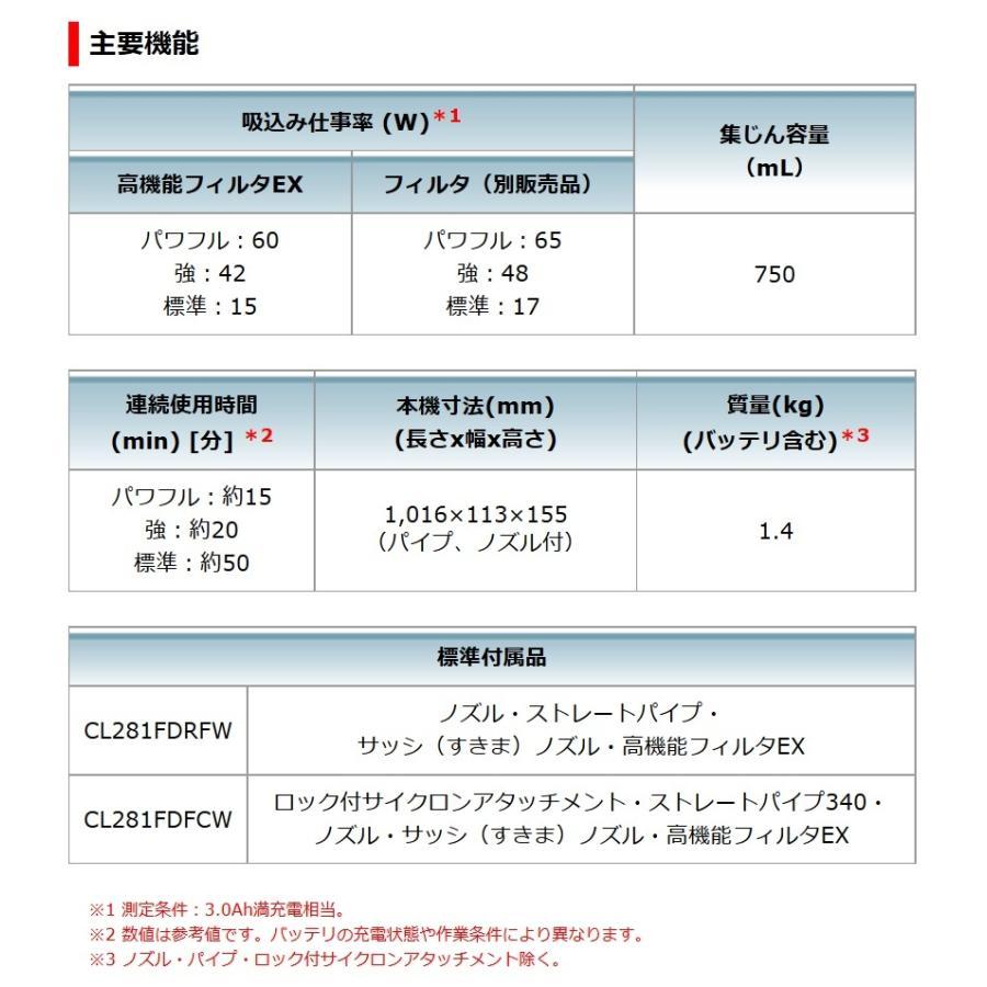 マキタ 18V 充電式クリーナ CL281FDZCW(本体のみ/バッテリ・充電器別売)[サイクロンアタッチメント付/カプセル集じん/3モード変速] kanamono-store 02