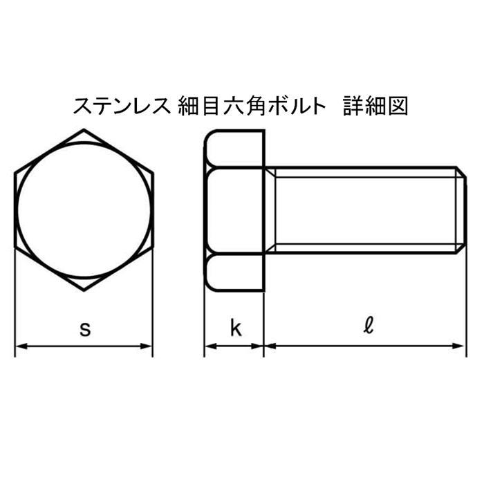 SUS 細目六角ボルト M8x20mm P=1.0 4本入 全ネジ kanamonoasano 04