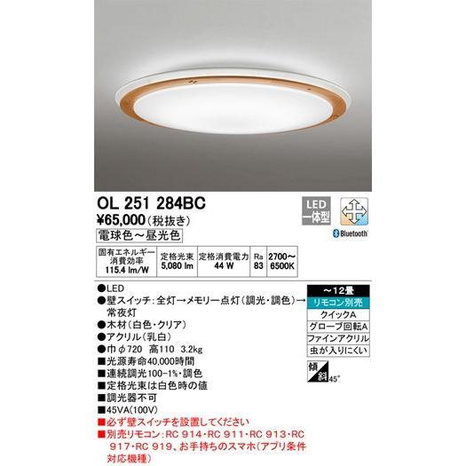 オーデリック シーリングライト 丸型デザイン OL251284BC