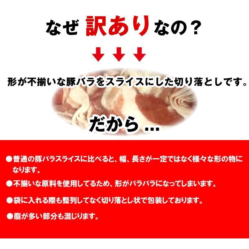 【訳あり】豚バラ切り落とし スライス厚 2.0mm 1kgパック×2セット|kande-pro|02