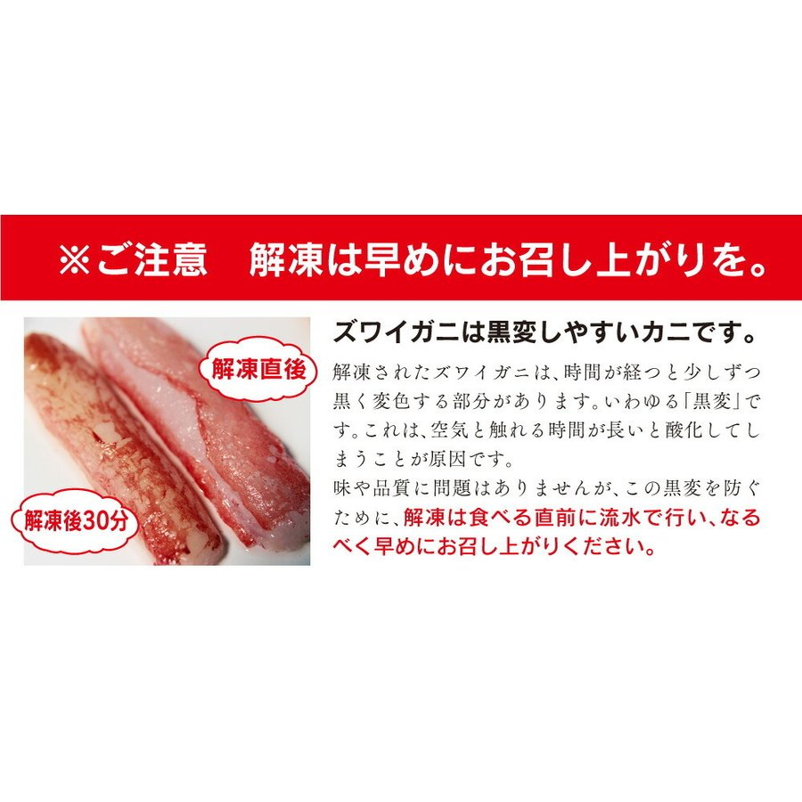 生ずわいがに折棒肉 総重量1kg / かに 蟹 カニ ズワイガニ ずわいがに 生食 刺身 しゃぶしゃぶ|kanipara|08