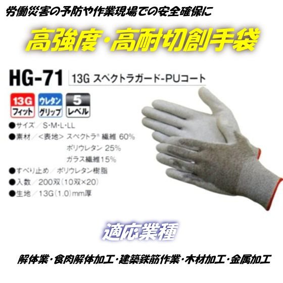 「スペクトラガード 高耐切創 高強度 手袋」 ハイパーグリップス HG-71 (フィット) 作業手袋10双組
