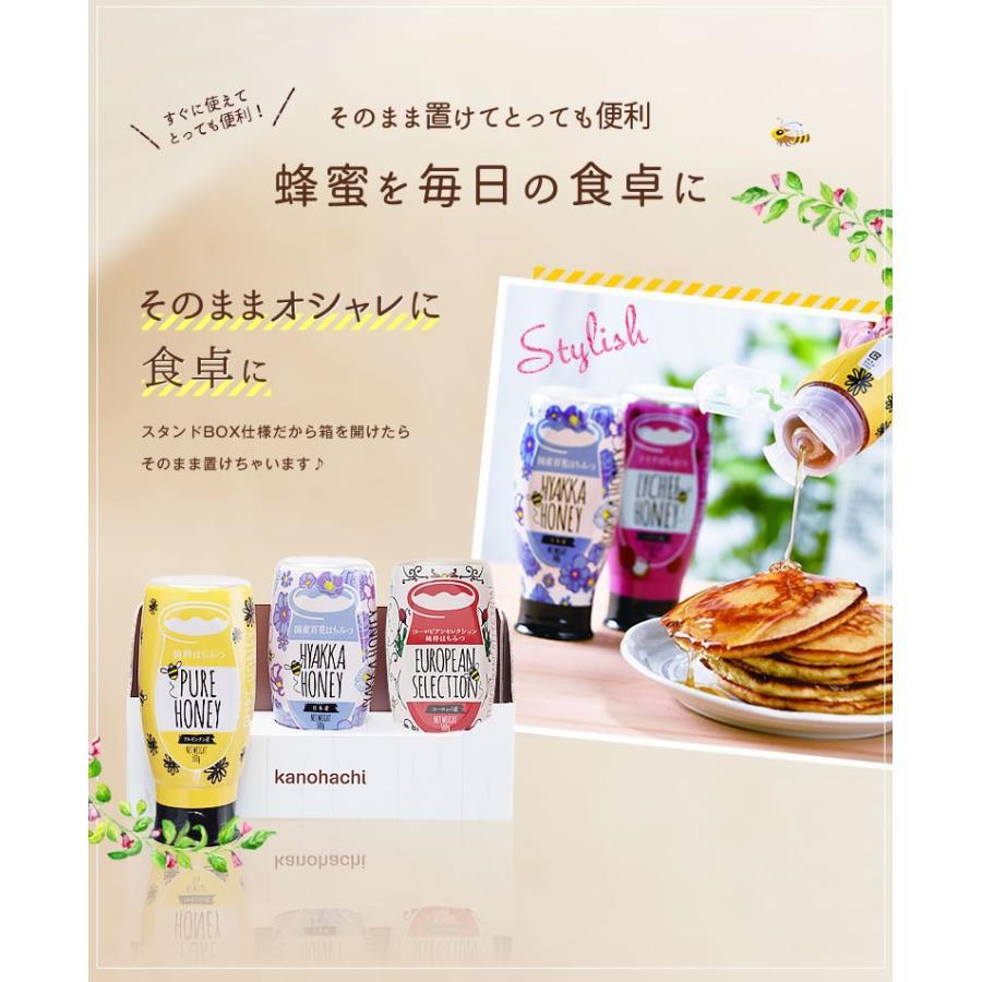 蜂蜜 ギフト ピュアハニープッシュボトル3種(国産・ヨーロッパ産・アルゼンチン産)セット PURE HONEY  国産蜂蜜 はちみつ 蜂蜜専門店 かの蜂 kanohachi 09