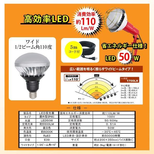 LED投光器 電球付 屋内外 照明 器具 5mコード 50W LED 5500LM ライト ランプ 口金 E39  作業用 作業灯 工事用 現場 照射 防滴 バイス付|kanryu|02