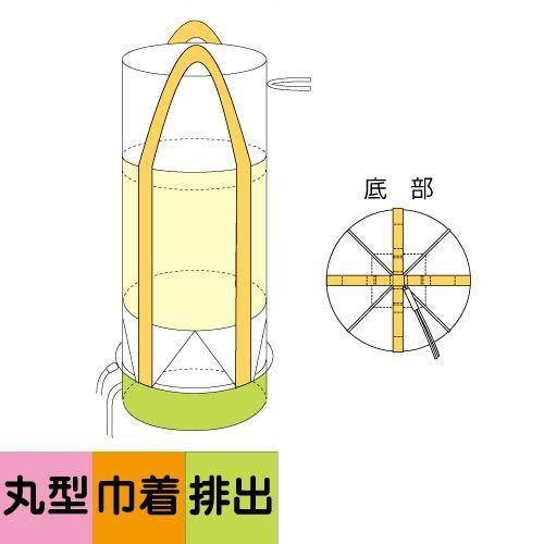 コンテナバック 丸型 フレコン 上部きんちゃく全開排出口付タイプ 10枚 耐荷重1000kg 容量1000L M-010 全開 排出全|kanryu|02