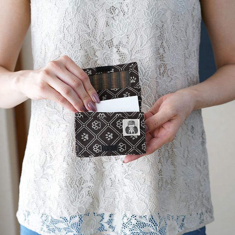 畳縁で作った名刺入れ 犬猫の肉球柄 2ポケット カード入れ 名刺 和柄 薄型 スリム 畳ヘリ 畳ふち kansaitatami-kyoto 02