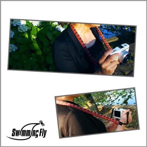 Swimming Fly and Gevaert ネックストラップ カメラストラップ ミラーレス一眼用 ビビットシャギーファイン 編みこみ レッド S|kansya-store|05