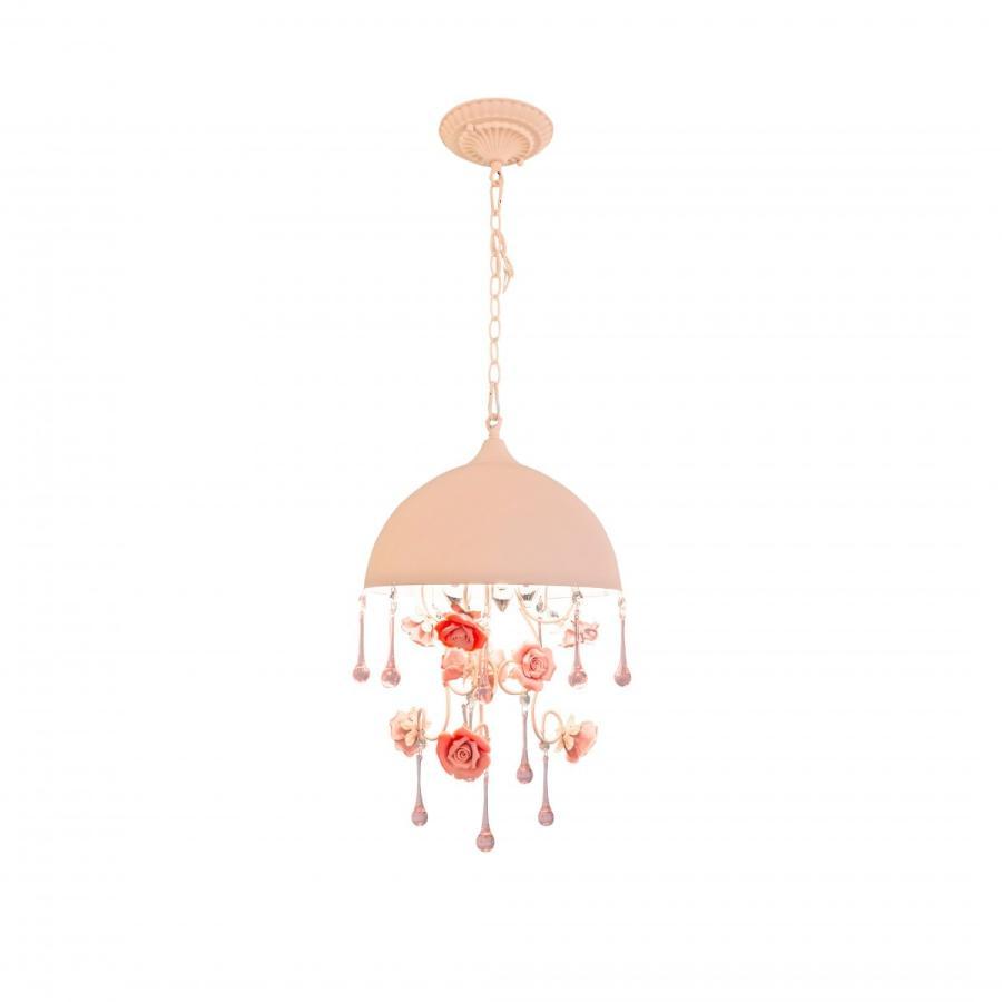 シャンデリア 可愛い アンティーク調 3灯 薄いピンク傘 薔薇シャンデリア クリスタル 引っ掛けシーリングタイプ ワンタッチで簡単設置 0769-3