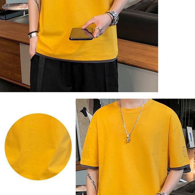 Tシャツ メンズ コットン レイヤード バイカラー プリント トップス ドロップショルダー ロゴ入|karei|03