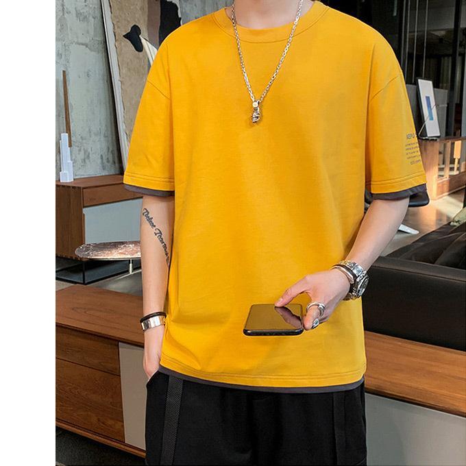 Tシャツ メンズ コットン レイヤード バイカラー プリント トップス ドロップショルダー ロゴ入|karei|04