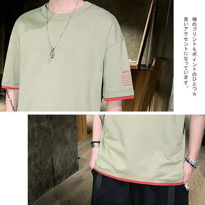 Tシャツ メンズ コットン レイヤード バイカラー プリント トップス ドロップショルダー ロゴ入|karei|06