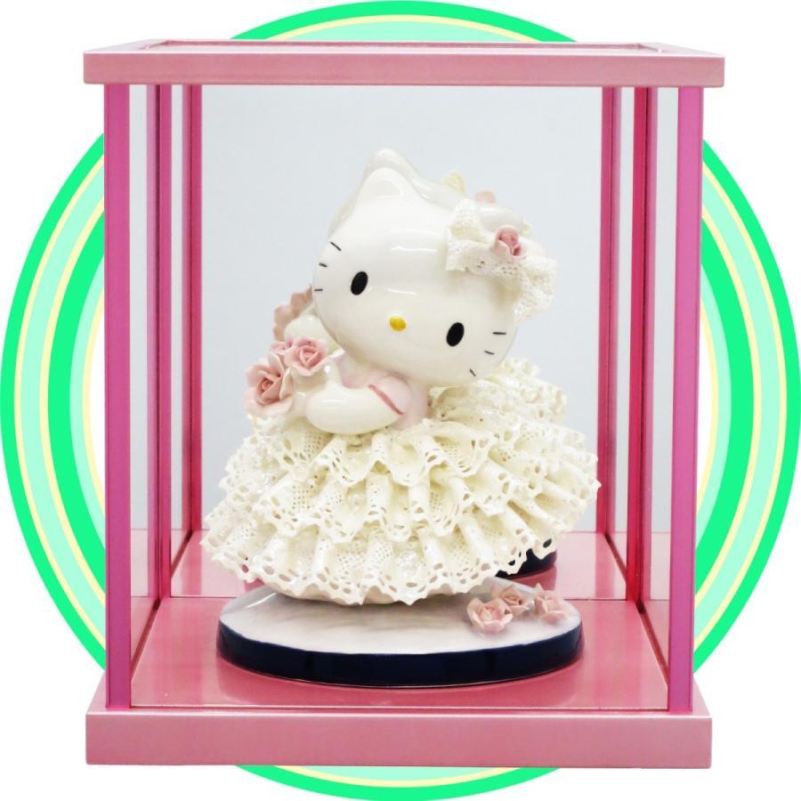 陶器レースドール サンリオ ハローキティ ホワイト  ガラスケースセット ピンク