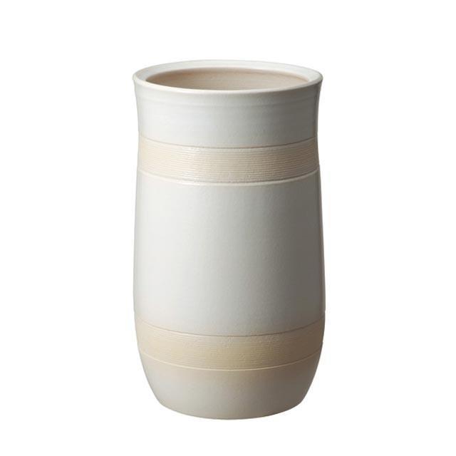 信楽焼傘立「ナチュラルホワイト傘立」 しがらき 陶器 和風 玄関 アンブレラスタンド ラック 収納 かさたて カサ立て 色 リフル おしゃれ 送料無料