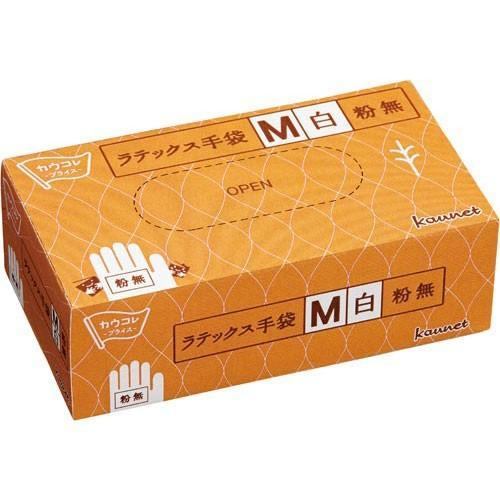 カウネット ラテックス手袋 粉無 M 100枚×30箱