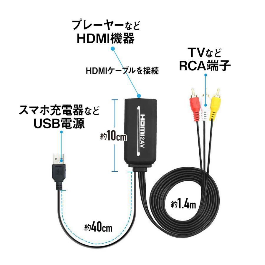 HDMI → RCA 変換ケーブル 変換コンバーター HDMIケーブル分離型 1.5m コンポジット AV出力 HDMI2AV (HDMIケーブル50cm付属)|kaumo|02