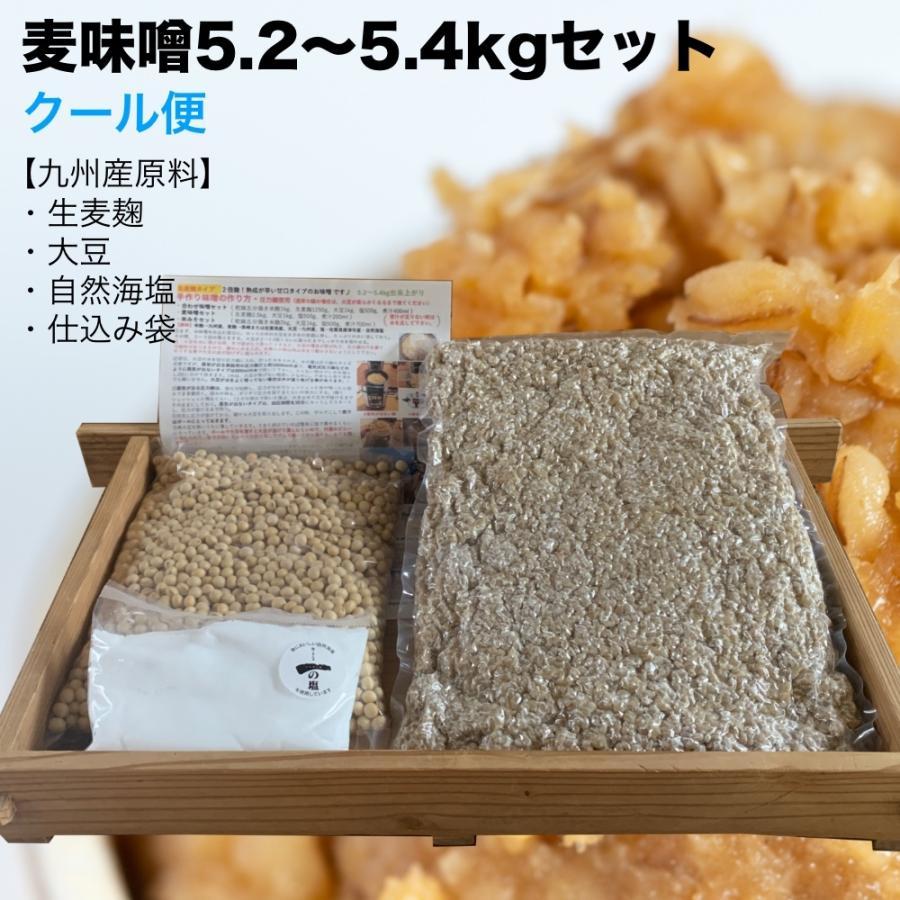 【クール便】手作り味噌セット 麦味噌5.4kg(約5.2〜5.4kg 生麦麹・無添加・九州産) 味噌作りセット キット|kawazoesuzou