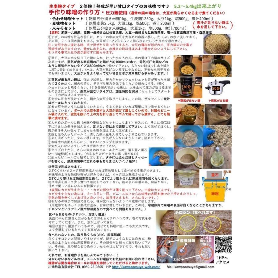 【クール便】手作り味噌セット 麦味噌5.4kg(約5.2〜5.4kg 生麦麹・無添加・九州産) 味噌作りセット キット|kawazoesuzou|03
