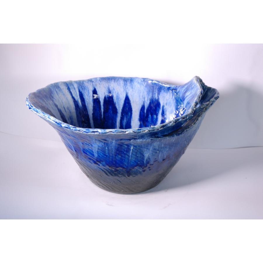 青ガラス小判型水鉢 20号 (信楽焼·陶器·水鉢·メダカ鉢·めだか鉢·金魚鉢·すれん鉢·スイレン鉢·睡蓮鉢)