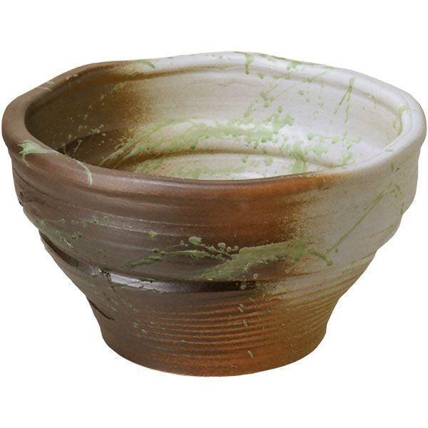 白釉ビードロ流し水鉢 18号 (信楽焼·陶器·水鉢·メダカ鉢·めだか鉢·金魚鉢·すれん鉢·スイレン鉢·睡蓮鉢)