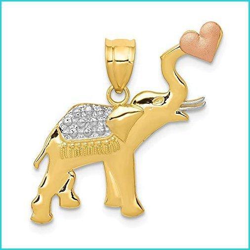 Nobleコレクション14·KツートーンゴールドD C象とハートペンダント(24·x 25·mm)【並行輸入品】