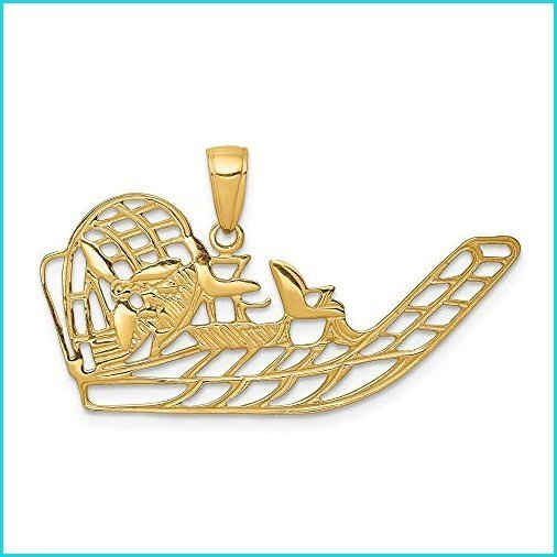 Nobleコレクション14·K黄色ゴールド空気ボートペンダント(36·x 19·mm【並行輸入品】