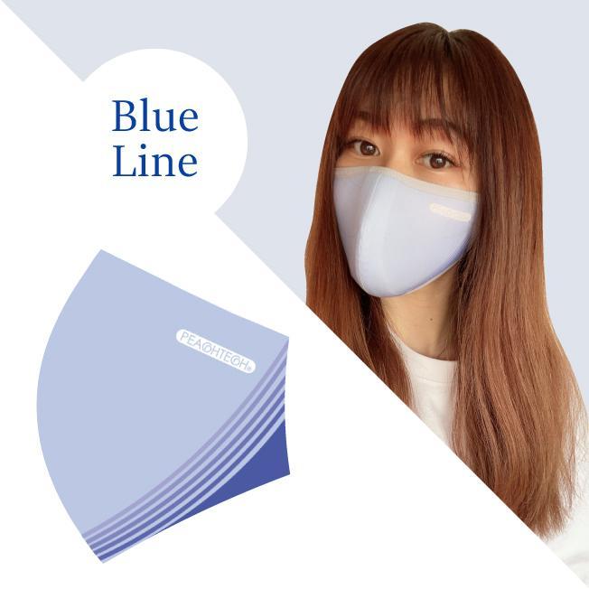 小顔 マスク  日本製 話しやすい 呼吸 楽 小林縫製 肌荒れ 布 ペイルブルー おしゃれ 洗える  肌に優しい UVカット 2021 春夏限定 ピーチテックオフィストーク kbsb 16
