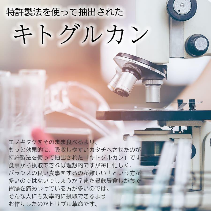 機能性表示食品 トリプル革命 60粒 30日分 エノキタケ キトグルカン キトサン キノコキトサン サプリ サプリメント ケフィア 国内製造|kefran-yshop|05