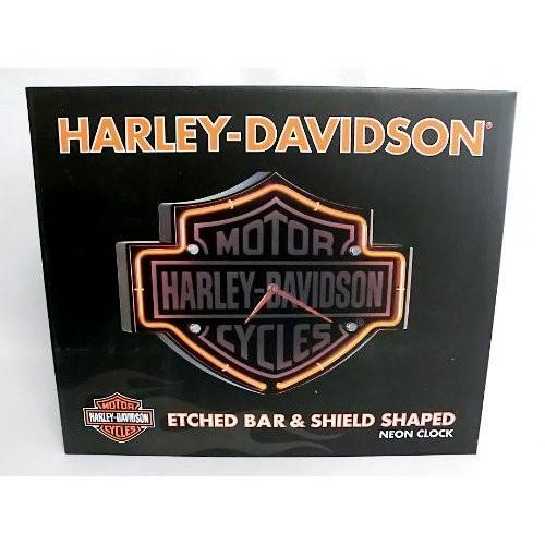 HARLEY-DAVIDSONハーレーダビッドソン Etched B&S ネオンクロック HDL-16651