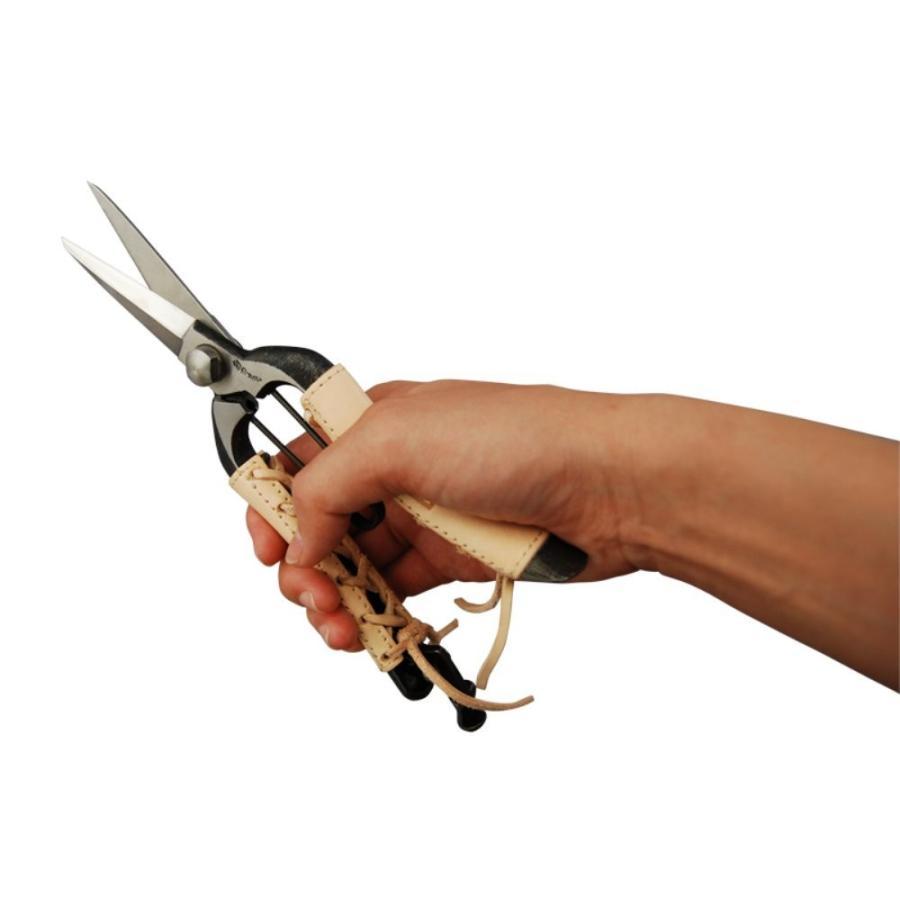 みきかじや村 双刃型両刃芽切鋏 8インチ金止 本革巻 TS062