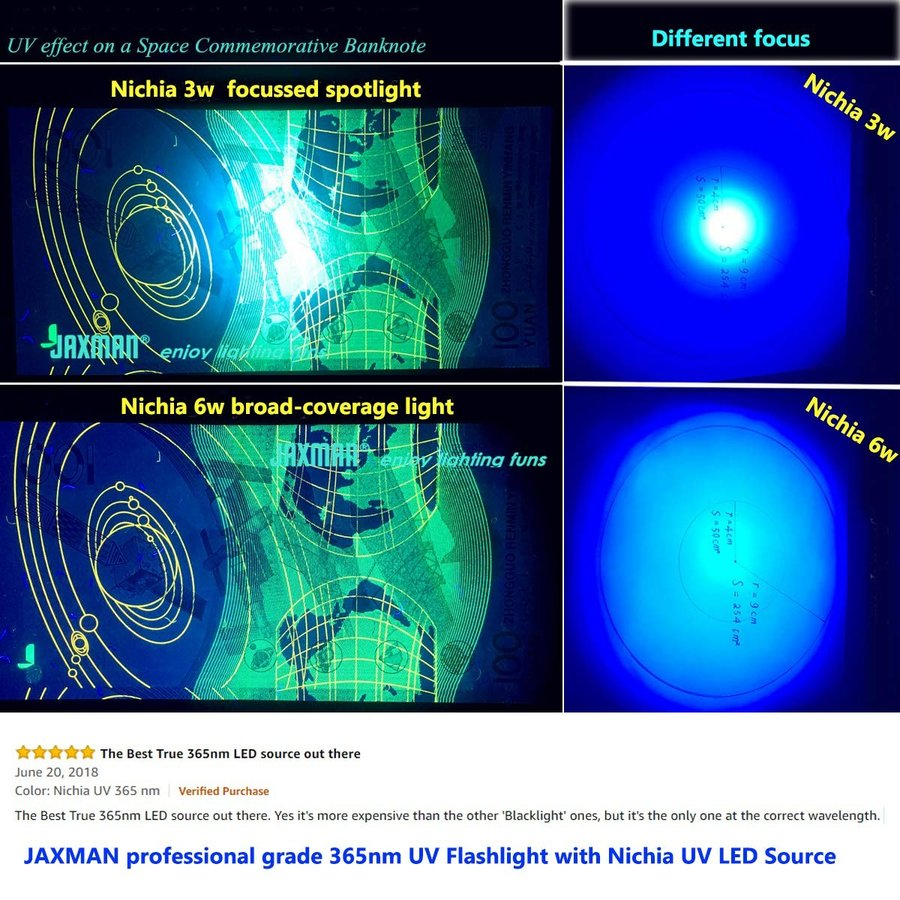 JAXMAN U1C UV 紫外線ライト 日亜化学 紫外線365nm UV LED 懐中電灯 18650電池使用 6W ワイド/フラット ビ